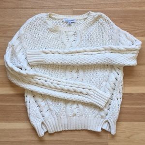 Marled by Reunited White Cable Knit  Sweater